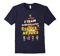 Train Kindergarten Super Heroes Gift For Tea Shirts Navy