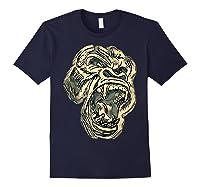 Angry Great Ape Art T-shirt Fierce Silverback Gorilla Face Navy