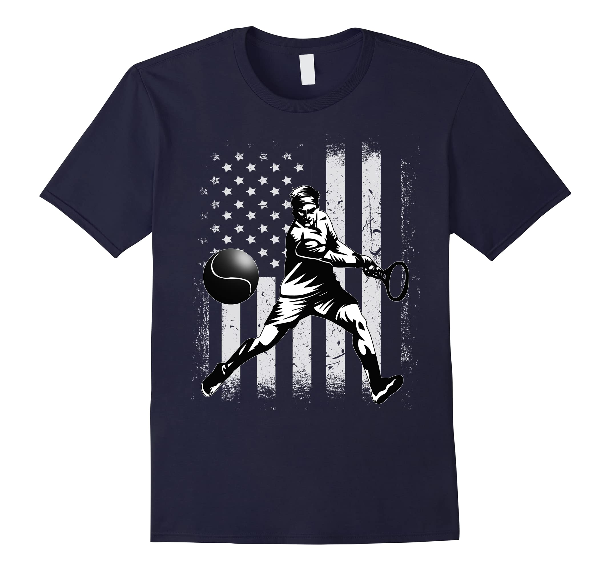 Vintage USA White - American Flag Tennis Player T-shirt-ah my shirt one gift