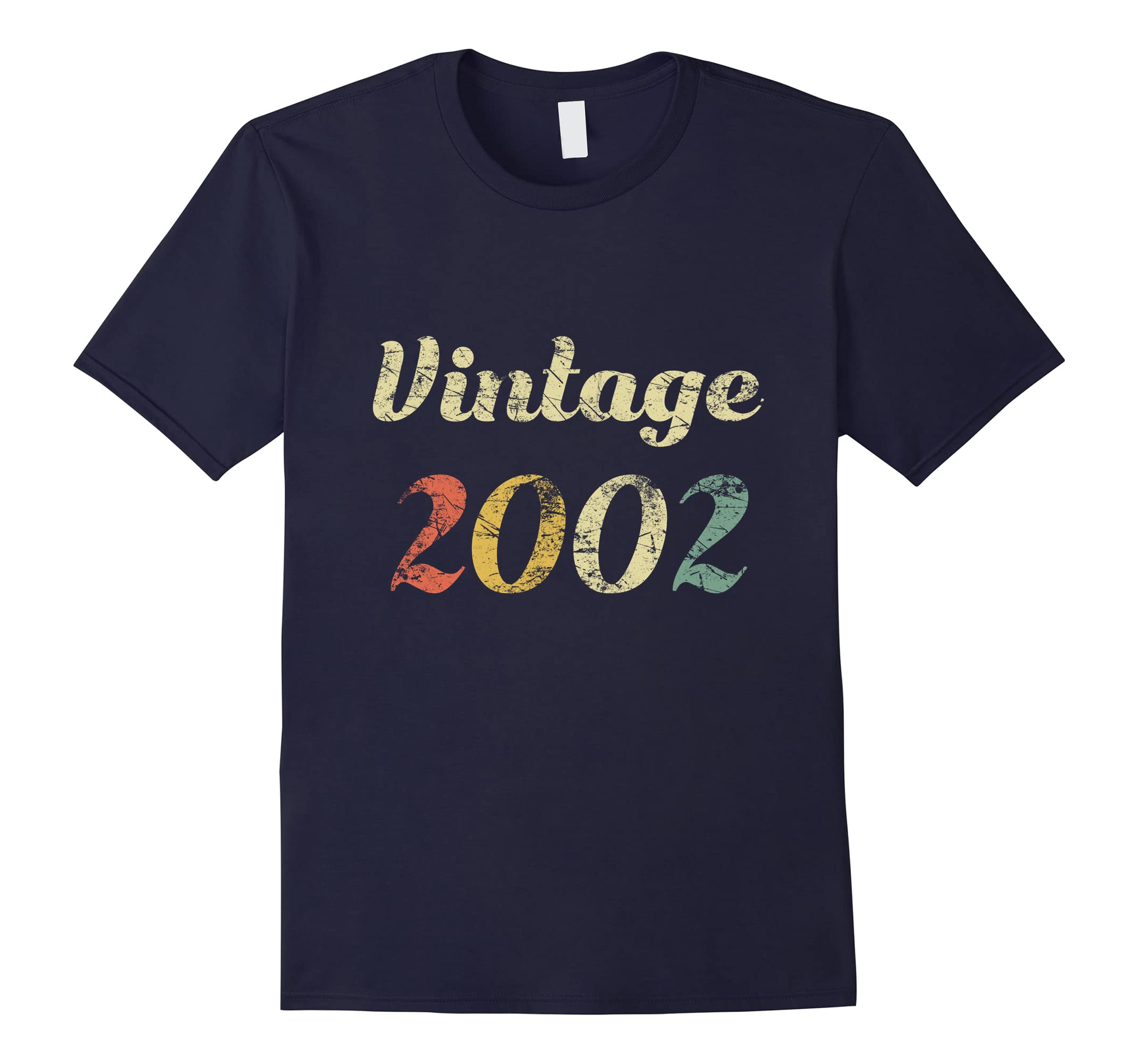16th Vintage Birthday Gift Shirt Distressed Born In 2002-RT