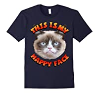 Grumpy Cat This Is My Happy Face Graphic Shirts Navy