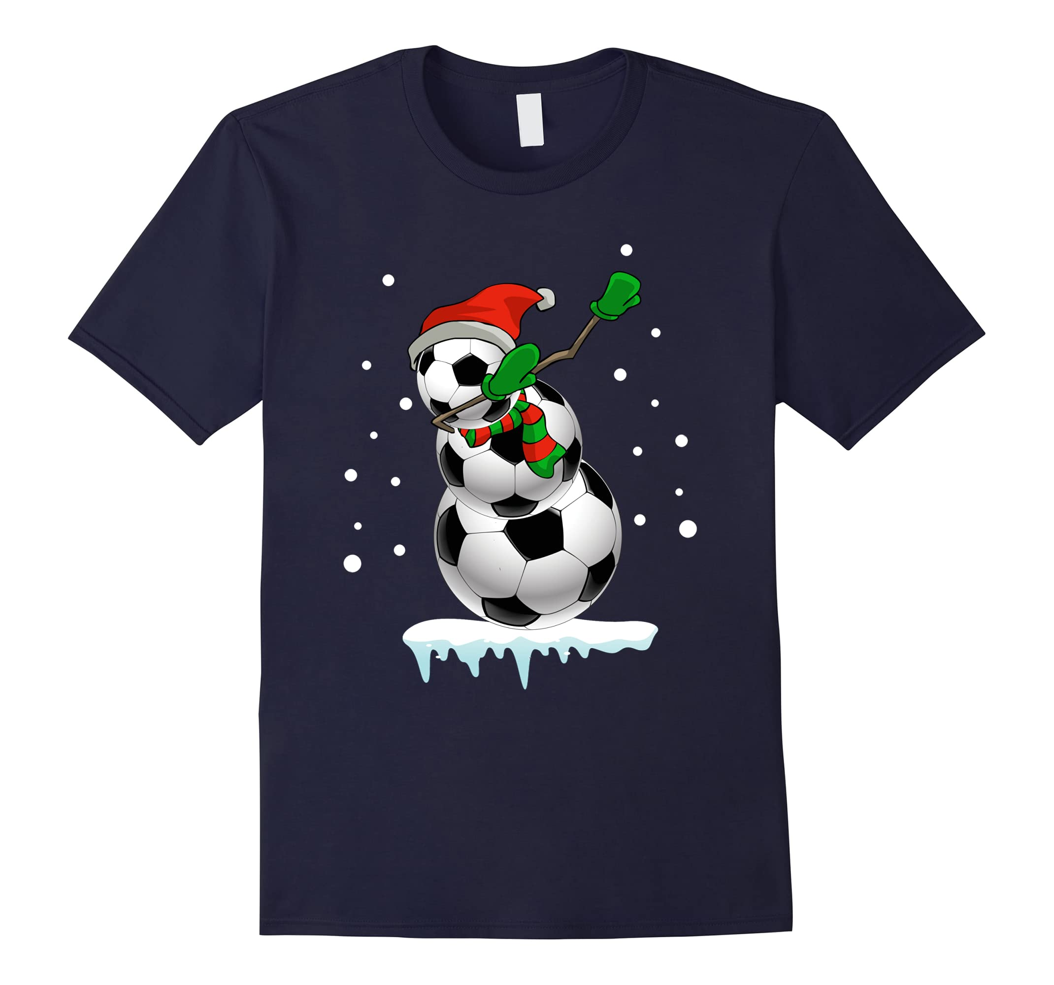 Dabbing Snowman Soccer T-Shirt Fun Christmas Gift Shirt-RT