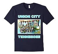 Lotta Shirts Union City Tennessee Postcard Greeting T Shirt Navy