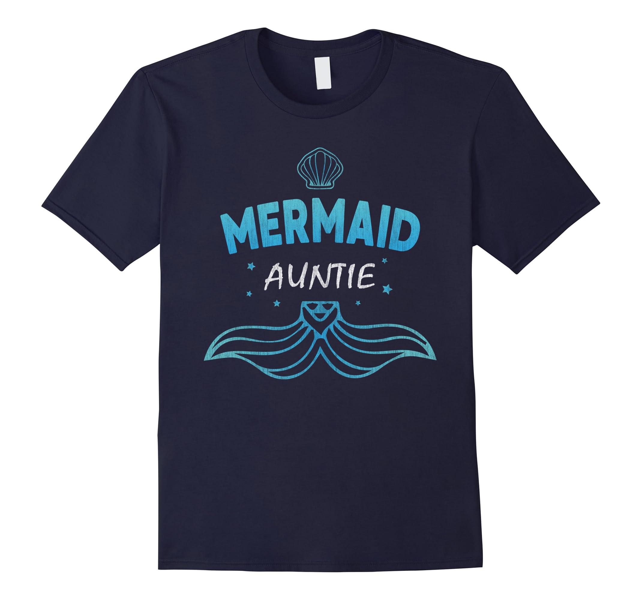 Auntie Mermaid Birthday Party t shirt Women Men Gifts Family-RT