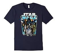 S Classic Comic Art Group Shot Darth Vader Shirts Navy