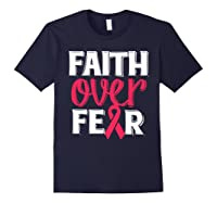 Faith Over R Breast Cancer Awareness Gift Shirts Navy