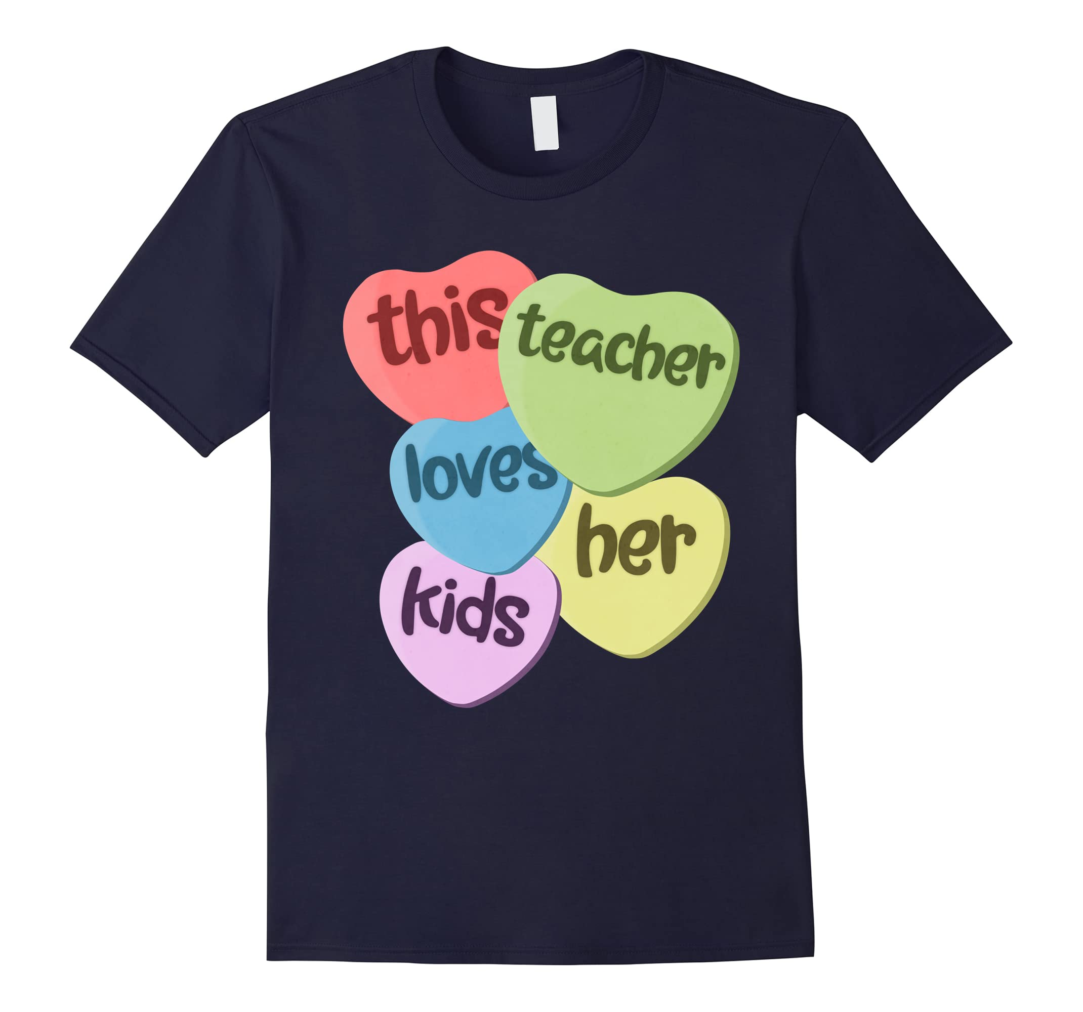 This Teacher Loves Her Kids Valentine's Day Hearts T-Shirt-RT