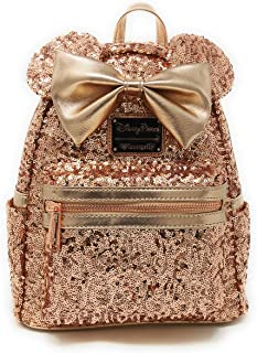 Disney Parks Loungefly Rose Gold Minnie Mouse Sequin Backpack - Updated Style