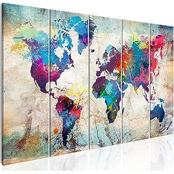 murando Cuadro Mapamundi 200x80 cm Impresión de 5 Piezas Material Tejido no Tejido Impresión Artística Imagen Gráfica Decoracion de Pared Mapa del Mundo Continente k-A-0179-b-n