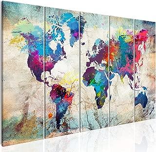 murando - Cuadro en Lienzo 225x90 cm Mapamundi Impresión de 5 Piezas Material Tejido no Tejido Impresión Artística Imagen Gráfica Decoracion de Pared Mapa del Mundo Continente k-A-0179-b-n