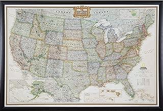 Craig Frames Wayfarer, Executive United States Push Pin Travel Map, Brazilian Walnut frame and Pins, 24 by 36-Inch