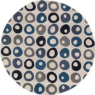 Surya COS9285-8RD Cosmopolitan Round Area Rug, 8', Teal Blue