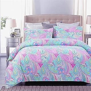 Juwenin Home Bedding Pink Girls Comforter Set with 2 Pillow sham (Hfj -CMF, Queen)