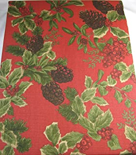 RALPH LAUREN Birchmont Red on Red Background Tablecloth, 60-by-84 Inch Oblong Rectangular