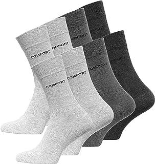 VCA, Juego de 8 pares de calcetines clásicos con logotipo Comfort, sin elástico, para hombre