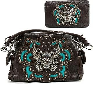 Tooled Winged Sugar Skull Roses Laser Cut Chain Shoulder Concealed Carry Handbag Purse Wallet Messenger Bag