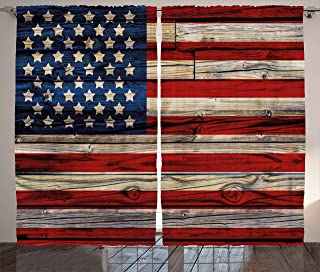 Ambesonne 4th of July Curtains, Wooden Planks Painted as United States Flag Patriotic Country Style, Living Room Bedroom Window Drapes 2 Panel Set, 108