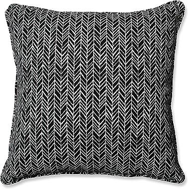 """Pillow Perfect Outdoor/Indoor Herringbone Night Floor Pillow, 25"""" x 25"""", Black"""