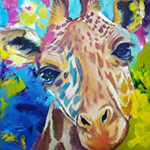 "Giraffe Diamond Painting Kit Educational for Teens and Adults, Full Drill with Round Beads, Square Canvas 12"" x 12"" Unit S..."