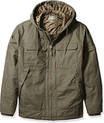 Wrangler RIGGS WORKWEAR Men's Big and Tall Hooded Ranger Jacket, Loden, 2X Tall