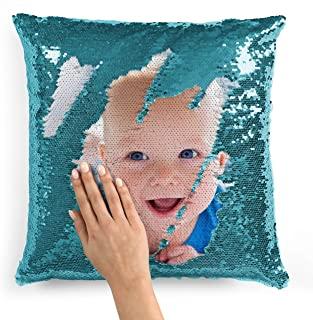 Custom Photo Sequin Pillow Cases | L Blue Mermaid Sequin Pillow Case w Any Picture | Magic Reversible Throw Pillowcases - Decorative Cushion&Pillow Cover for Sofa Couch - Home Decor Personalized Gifts