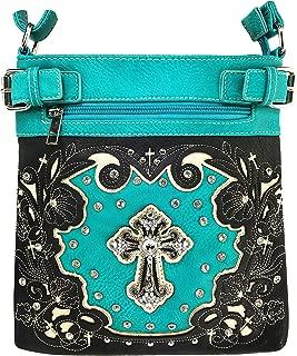 Western Laser Cut Embroidery Rhinestone Silver Cross Messenger Handbag with CrossBody Strap