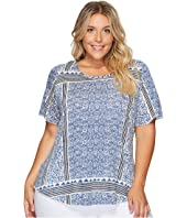 Lucky Brand Plus Size Triangle Striped Tee