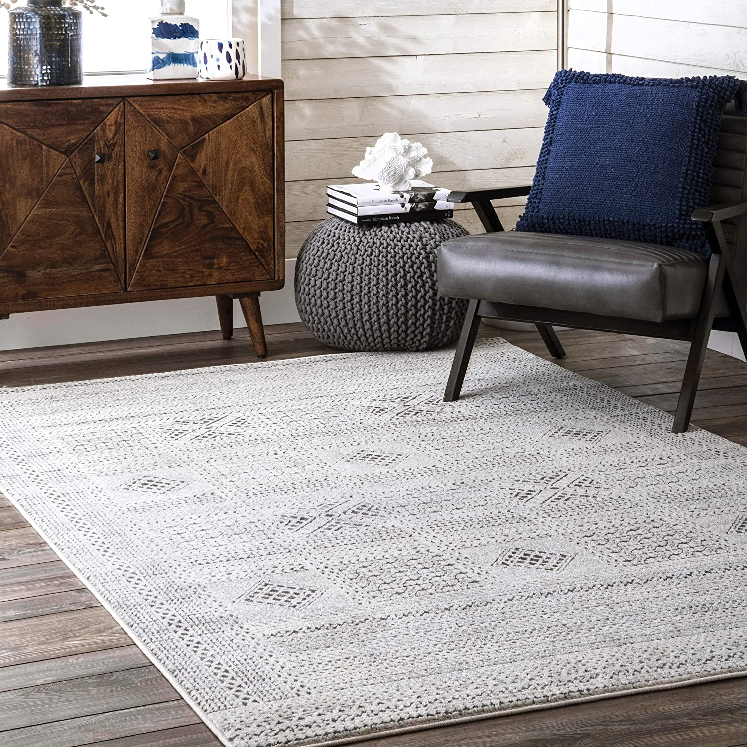 nuLOOM Blake Textured Patchwork Area Shipping included Large-scale sale Rug Grey 9' x 7