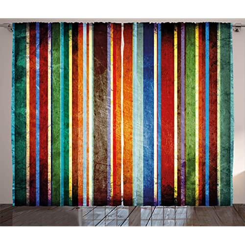 Colorful curtains for living room Simple Ambesonne Stripes Curtains Vertical Lines Colorful Retro Bands With Damage Effects Old Fashion Weathered Display Amazoncom Colorful Living Room Curtains Amazoncom