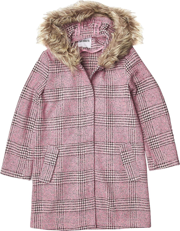 BB DAKOTA Women's Pink Slip Plaid Coat with Faux Fur Trim Hood