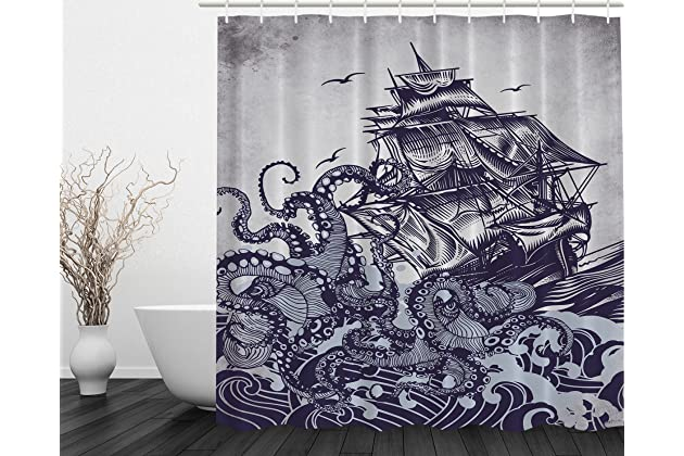 Old Look Home Textile European Style Bathroom Decoration Cozy Lovely Decor Pleasing Peculiar Design Hand Drawing Effect Fabric Shower Curtain Blue