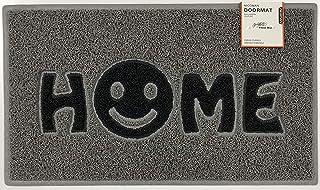 Nicoman - Felpudo para Puerta de casa con Cara Sonriente, Color Gris con Inserciones Negras, 75 x 44 cm, Borde Biselado