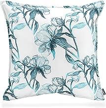 Outdoor Kissenbezug 40x40 cm Blumen Blau wasserabweisend Kissenhülle Kissen Deko