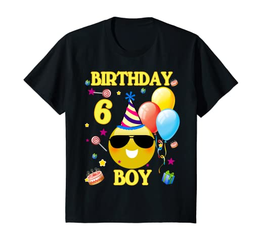 Image Unavailable Not Available For Color Kids Cute Emoji 6 Years Old Shirt 6th Birthday