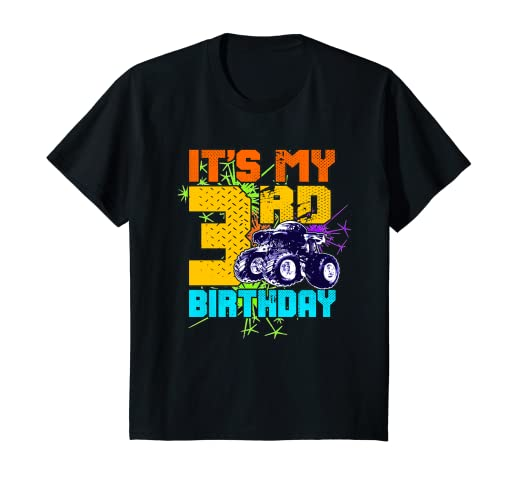 Kids 3 Year Old Birthday Shirt Boy Monster Truck 3rd Tee