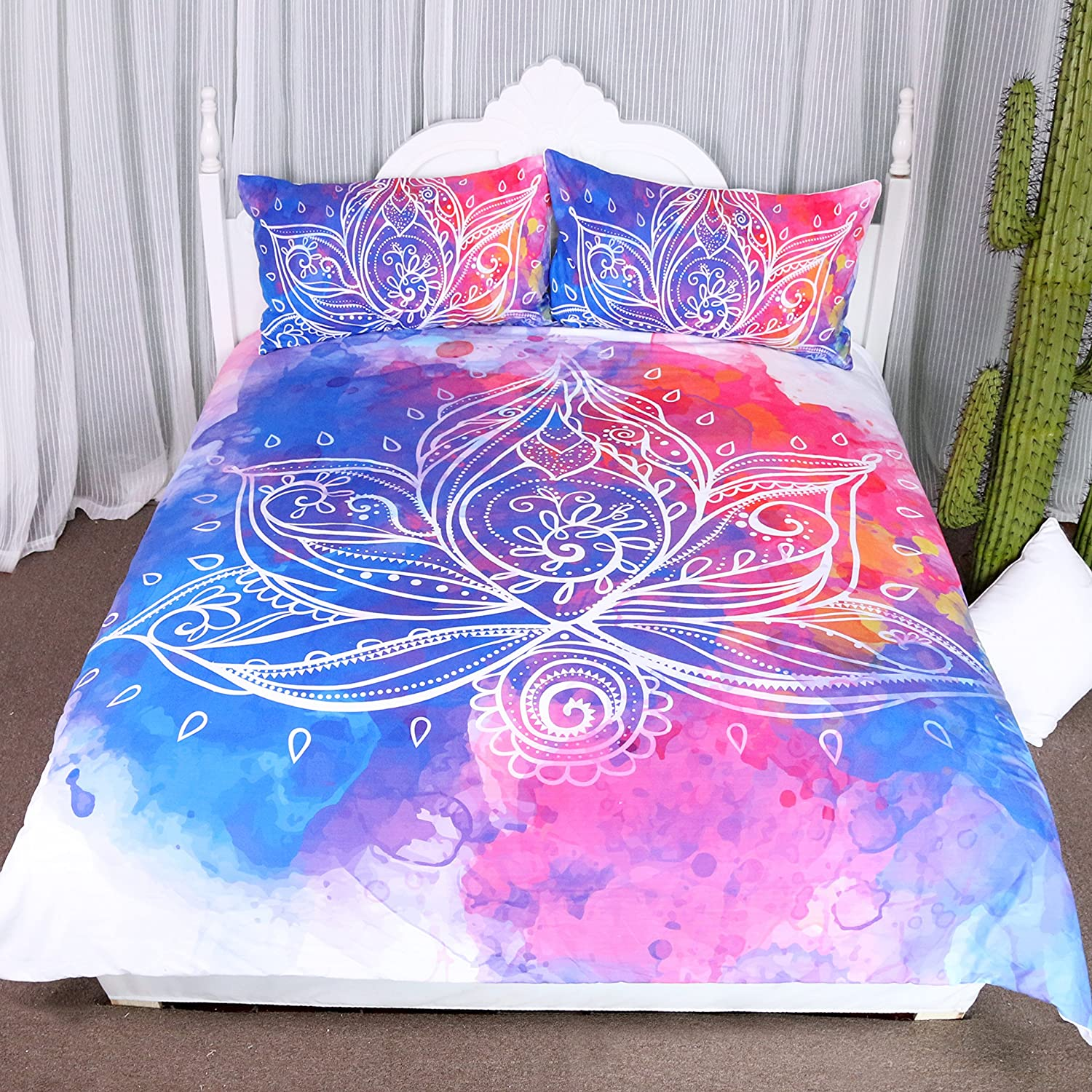 Arightex Boho Lotus Bedding sold out 3D Watercolor Cover Ra Duvet Flowers Very popular!