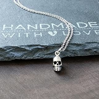 Sterling Silver Tiny Skull Charm Necklace, 18
