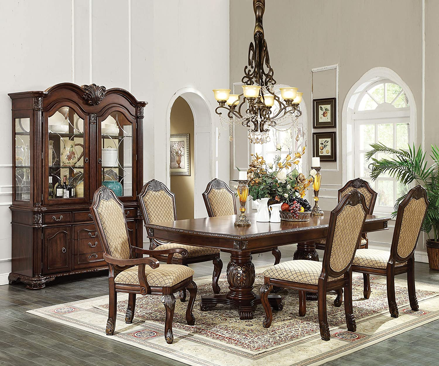 Benjara Benzara Wooden Dining Max 74% OFF Table Pedestal Brown List price Double with