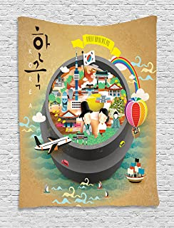 Ambesonne Korea Tapestry, Traditional South Korean Motifs Inside a Khimchi Hot Pot Tourist Attractions Cartoon, Wall Hanging for Bedroom Living Room Dorm Decor, 40