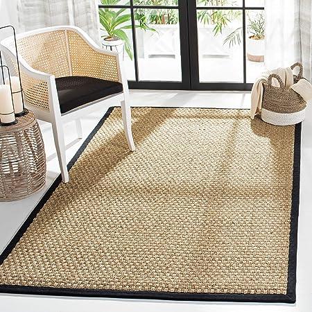 Amazon Com Safavieh Natural Fiber Collection Nf114c Border Basketweave Seagrass Area Rug 4 X 6 Black Furniture Decor