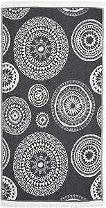 Linum Home Textiles Zarya Pestemal Beach Towel, Black