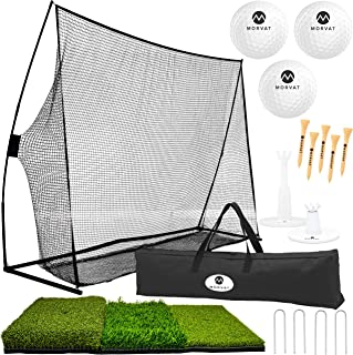 Morvat Golf Net Set, Golf Practice Mat and Golf Accessories, Golf Net for Backyard Driving, Golf Training Aid | Golf Balls + Adjustable Tees + Wooden Tees + Carry Bag, for Indoor and Outdoor Use