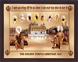 Gurunank dev ji and Guru gobind Singh ji with eight other Sikh religious guru's and Golden Temple of Amritsar, A Sikh Religious poster with frame must for every Sikh religious family, office, Sikh gu