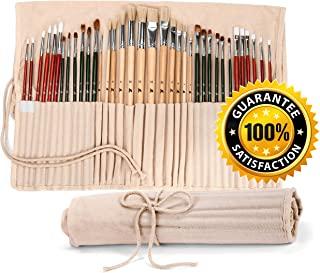 36 Paint Brushes for Painting Acrylic, Oil, Watercolor with Art Supplies Carry Pouch - Long Handle Paint Brush Set/Kit with Holder