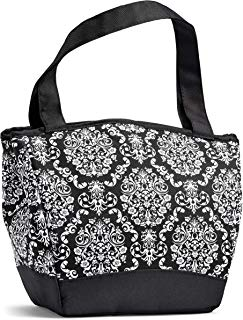 """Fit & Fresh 926FF1758 Hyannis Insulated Lunch Women, Soft Cooler Bag with Ice Pack for Work and On-The-Go, Black & White Damask, 11.5"""" x 6"""" x 10.5"""","""