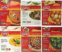 MTR Tasty Delights Variety 6-Pack Ready to Eat Meals – Tomato Rice, Bhindi Masala, Paneer Butter Masala, Dal Fry, Chana Masala, Palak Paneer