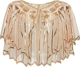 1920s Shawl Wraps Sequin Beaded Evening Cape Bridal Shawl Bolero Flapper Cover Up