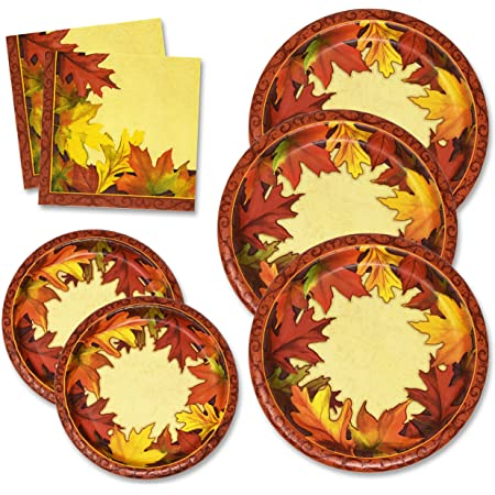 Thanksgiving Paper Plates And Napkins Set For 50 Guests Includes 50 10 Dinner Plates 50 6 5 8 Dessert Plates 100 Luncheon Napkins For Fall Leaves Autumn Red Orange Tableware Party Kit