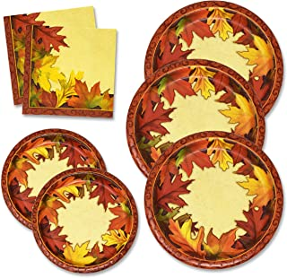 Thanksgiving Paper Plates and Napkins Set for 50 Guests includes 50 10