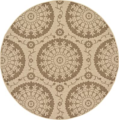 Unique Loom Outdoor Botanical Collection Floral Abstract Transitional Indoor and Outdoor Flatweave Beige /Brown Round Rug (6' 0 x 6' 0)